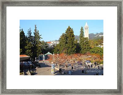 Uc Berkeley . Sproul Plaza . Sather Gate And Sather Tower Campanile . 7d10000 Framed Print by Wingsdomain Art and Photography