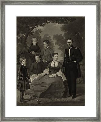 Ulysses S. Grant With His Family When Framed Print by Everett