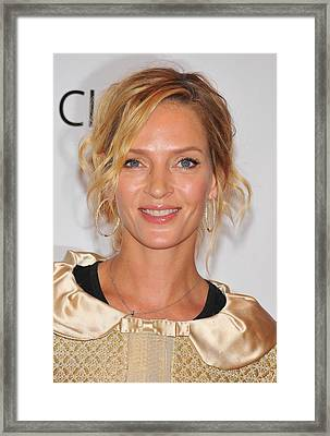 Uma Thurman In Attendance For Friars Framed Print by Everett