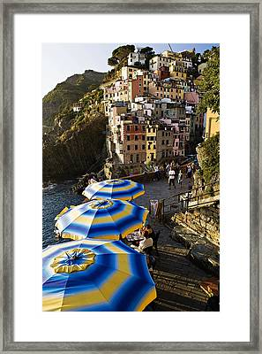 Umbrellas Of Riomagiorre Framed Print by  Samdobrow  Photography