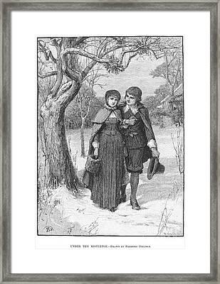 Under The Mistletoe Framed Print by Granger