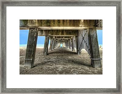 Under The Pier On Tybee Island Framed Print by Tammy Wetzel