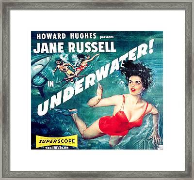 Underwater, Jane Russell, 1955 Framed Print by Everett