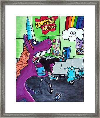 Unicorn Eating A Hipster Framed Print by Jera Sky