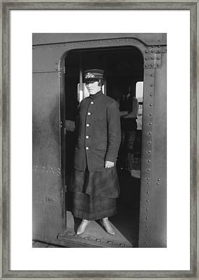 Uniformed Woman Brooklyn Subway Guard Framed Print by Everett