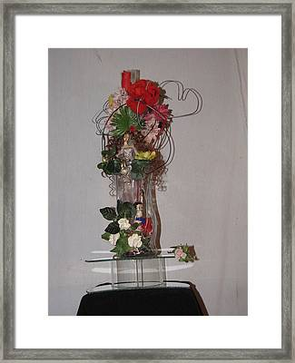 Unique Glass Floral Art Piece Framed Print by HollyWood Creation By linda zanini