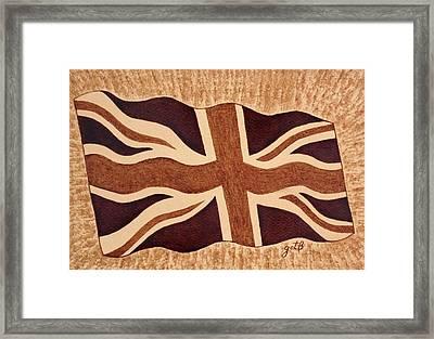 United Kingdom Flag Coffee Painting Framed Print by Georgeta  Blanaru