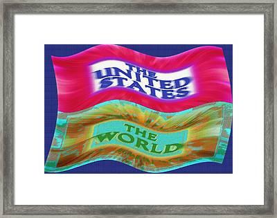 United States - The World - Flag Unfurled Framed Print by Steve Ohlsen