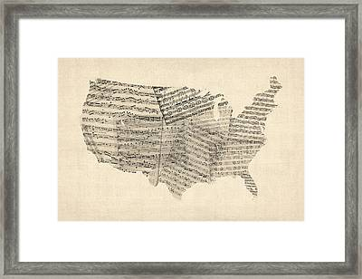 United States Old Sheet Music Map Framed Print by Michael Tompsett
