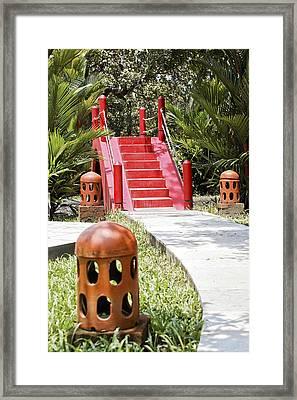 Up Garden Path Over Red Bridge Framed Print by Kantilal Patel