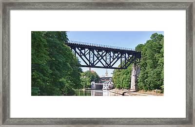 Upside-down Railroad Bridge Framed Print by Guy Whiteley