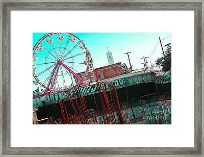 Urban Ferris Wheel With Tinted Sky Framed Print by Christy Borgman
