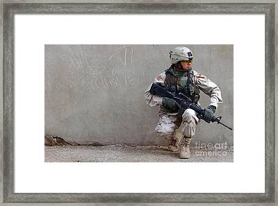 U.s. Army Soldier Armed With A 5.56mm Framed Print by Stocktrek Images