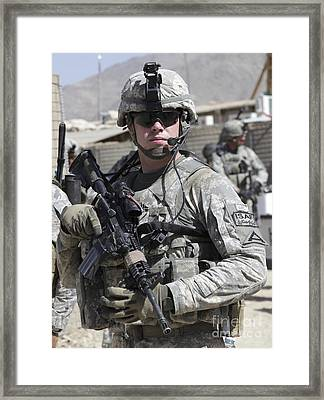 U.s. Army Soldier Conducts A Combat Framed Print by Stocktrek Images