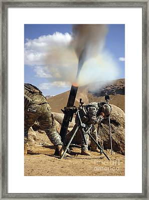 U.s. Army Soldiers Firing A 120mm Framed Print by Stocktrek Images