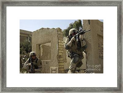 U.s. Army Soldiers Reacting To Small Framed Print by Stocktrek Images