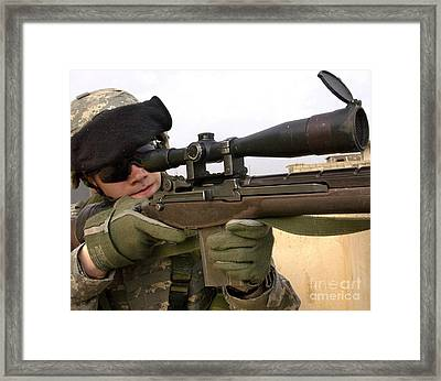 U.s. Army Specialist Provides Overwatch Framed Print by Stocktrek Images