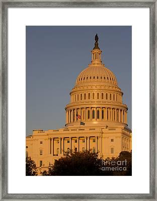 Us Capital Dome Sunset Glow Framed Print by Dustin K Ryan