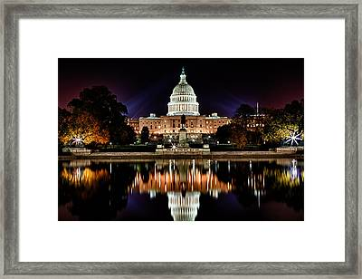 Us Capitol Building And Reflecting Pool At Fall Night 2 Framed Print by Val Black Russian Tourchin