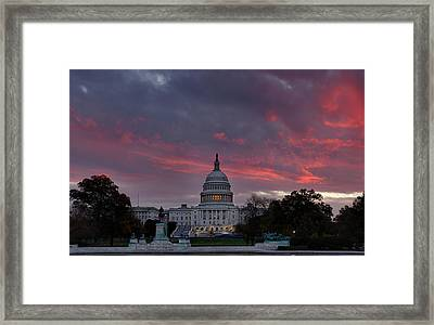 Us Capitol - Pink Sky Getting Ready Framed Print by Metro DC Photography