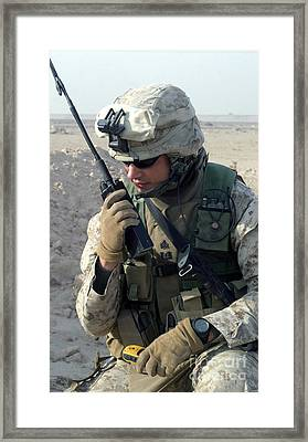 U.s. Marine Uses A Mbitr Anprc-148 Framed Print by Stocktrek Images