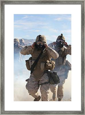 Us Marines And Sailors In Full Framed Print by Everett