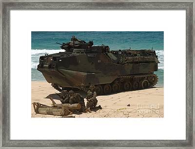 U.s. Marines Guard Their Amphibious Framed Print by Stocktrek Images
