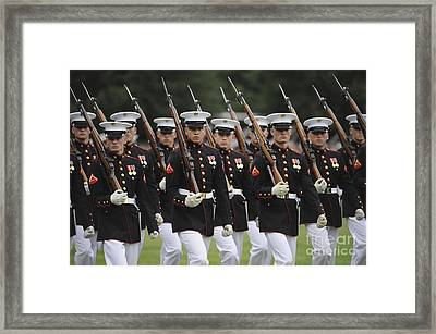U.s. Marines March By During The Pass Framed Print by Stocktrek Images