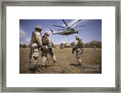 U.s. Marines Observe Ch-53e Super Framed Print by Stocktrek Images