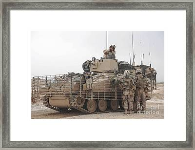 U.s. Marines Talk With A British Framed Print by Stocktrek Images