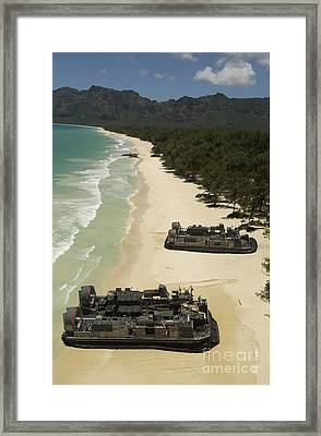 U.s. Navy Landing Craft Land Framed Print by Stocktrek Images