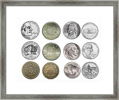 Us Nickels Framed Print by Paul Ward