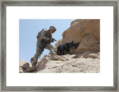 Us Soldier And Blek A Working Dog Clear Framed Print by Everett