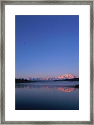 Usa, Alaska, Mount Mckinley As Seen From Wonder Lake After Sunrise Framed Print by Paul Souders
