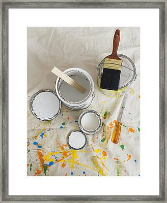Usa, New Jersey, Jersey City, Paint Cans And Paintbrushes On Drop Cloth Framed Print by Tetra Images