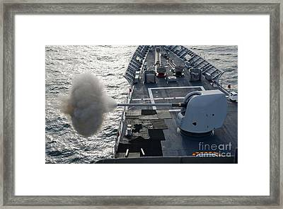 Uss Cape St. George Fires Its Mk-45 Framed Print by Stocktrek Images