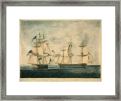 Uss Chesapeake Vs. Hms Shannon Framed Print by Everett