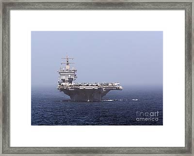 Uss Enterprise In The Arabian Sea Framed Print by Gert Kromhout