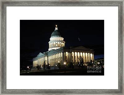 Utah Capitol At Night Framed Print by Gary Whitton