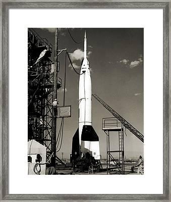 V-2 Bumper Rocket Launch In Usa Framed Print by Detlev Van Ravenswaay