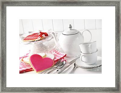 Valentine Cookies With Teapot And Cups Framed Print by Sandra Cunningham