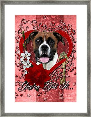 Valentines - Key To My Heart Boxer Framed Print by Renae Laughner