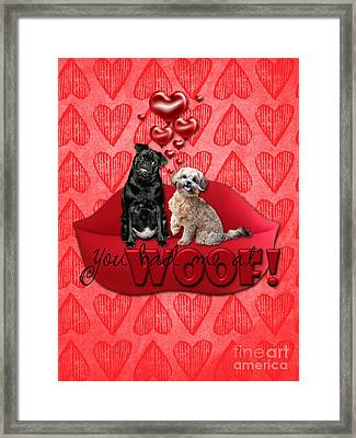 Valentines - Sweetest Day - You Had Me At Woof Framed Print by Renae Laughner