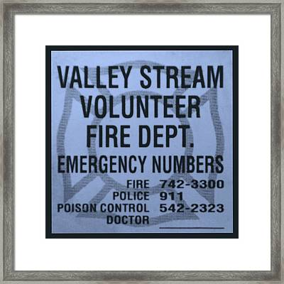 Valley Stream Fire Department In Cyan Framed Print by Rob Hans