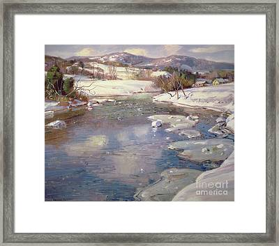 Valley Stream In Winter Framed Print by George Gardner Symons