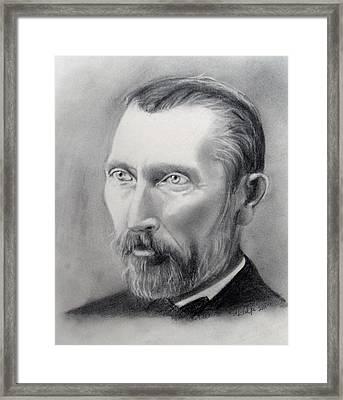 Van Gogh Pencil Portrait Framed Print by Andrea Realpe