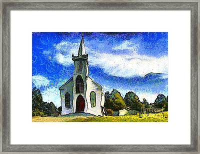 Van Gogh.s Church On The Hill 7d12437 Framed Print by Wingsdomain Art and Photography