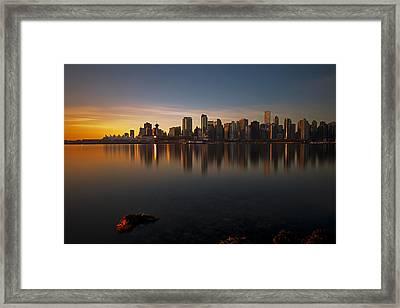 Vancouver Golden Sunrise Framed Print by Jorge Ligason