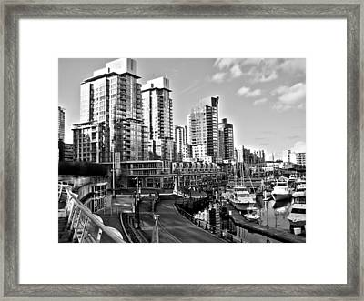 Vancouver Harbour Bw Framed Print by Kamil Swiatek