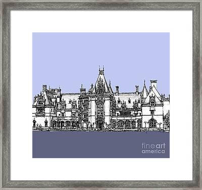 Vanderbilt's Biltmore Estate In Blue  Framed Print by Building  Art